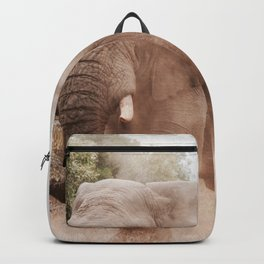 GREY ELEPHANT NEAR TREES WALKING IN THE MORNING Backpack