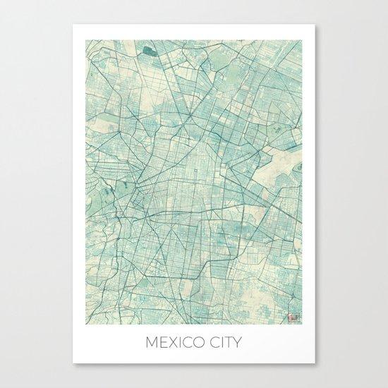 Mexico City Map Blue Vintage Canvas Print