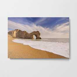 Durdle Door arch in Southern England on a sunny day Metal Print
