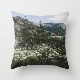 Mount Rainier Summer Wildflowers Throw Pillow