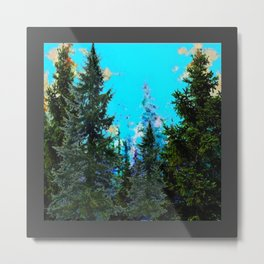 WESTERN PINE TREES MOUNTAIN GREY LANDSCAPE Metal Print