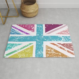 Distressed Multicol Union Jack/Flag Rug