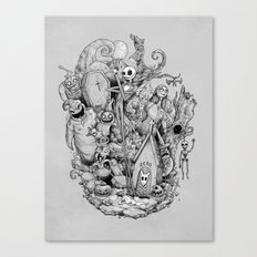 A nightmare in black and white Canvas Print