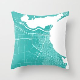 Corpus Christi map turquoise Throw Pillow