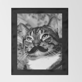 He's a Cat with a Mustache Throw Blanket