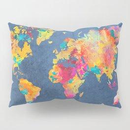 world map blue 2061 #map #worldmap Pillow Sham