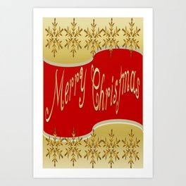Red Merry Christmas Banner On Gold With Snowflakes  Art Print
