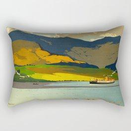 Loch Awe Vintage Mid Century Art Travel Poster British Railways Colorful Landscape Rectangular Pillow