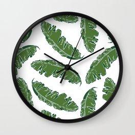 Nouveau Banana Leaf in White Pearl Wall Clock