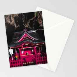 Pink Japanese Shrine hidden inside a Cave | Cyberpunk Stationery Cards