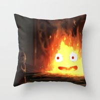 calcifer Throw Pillows featuring Cálcifer by Kitexavier