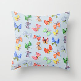 Colorful and happy butterflies Throw Pillow