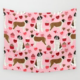 Saint Bernard valentines day cupcakes love hearts dog breed pet portrait pure breed unique dogs gift Wall Tapestry
