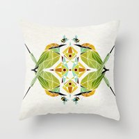 soul eater Throw Pillows featuring green bee eater  by Manoou