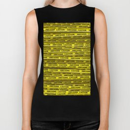 AWESOME, use caution / 3D render of awesome warning tape Biker Tank