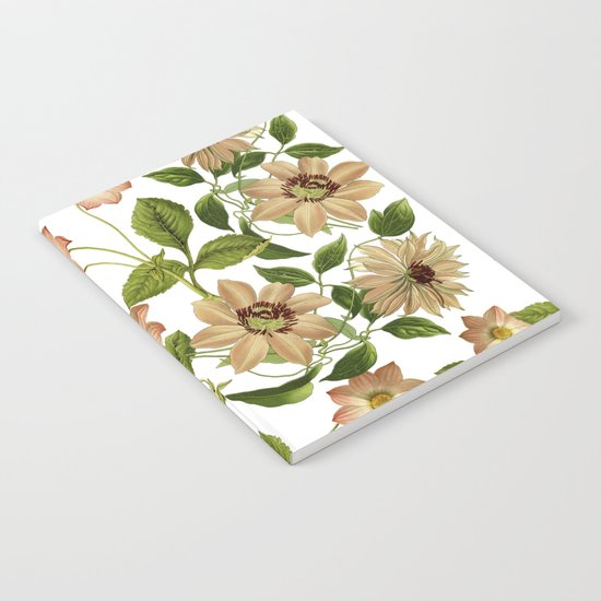 Floral retro vintage pattern pastel colored Notebook