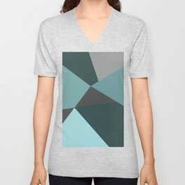 Broken Glass, blue, abstract graphic Unisex V-Neck