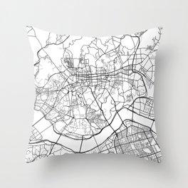 Seoul Map, South Korea - Black and White Throw Pillow