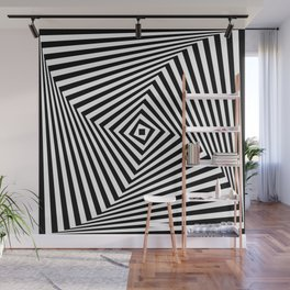 Op art rotating square in black and white Wall Mural