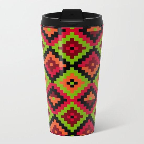 Aztec pattern - green Metal Travel Mug