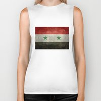 arab Biker Tanks featuring The Syrian national flag - vintage version (may PEACE prevail) by LonestarDesigns2020 is Modern Home Decor