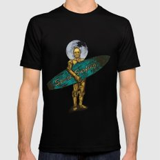 Space Surfer Black LARGE Mens Fitted Tee