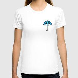 Bright Blue Black Rain Umbrella Illustration T-shirt