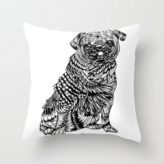 Pug Feather Throw Pillow