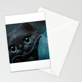 BLACK PERSIAN KITTEN CAT with WOOL BALL Stationery Cards