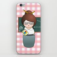 teacher iPhone & iPod Skins featuring Kokeshi Teacher  by Pendientera