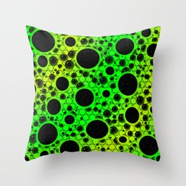 Space Bubble Spots - Green/Lime Throw Pillow