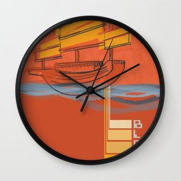 Poster Project | Bless Ship Orange Wall Clock