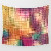 tetris Wall Tapestries featuring Colored Tetris by jbjart