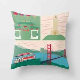 San Francisco City Chinatown Coit Tower Tram Golden Gate Bridge Throw Pillow