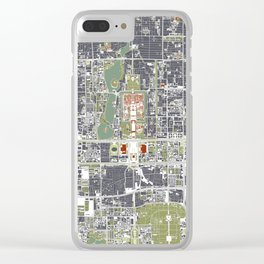 Beijing city map engraving Clear iPhone Case