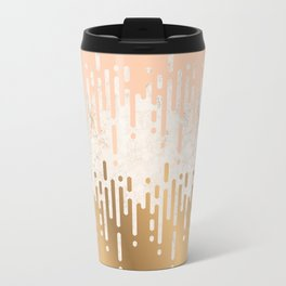Marble and Geometric Diamond Drips, in Gold and Peach Travel Mug