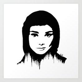 Audrey Hepburn art design ( black and white)  Art Print