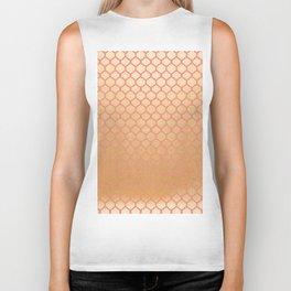 Chic modern coral faux gold quatrefoil pattern Biker Tank
