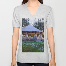 Kiosk in winter Unisex V-Neck