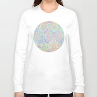 deco Long Sleeve T-shirts featuring Jade & Blue Enamel Art Deco Pattern by micklyn