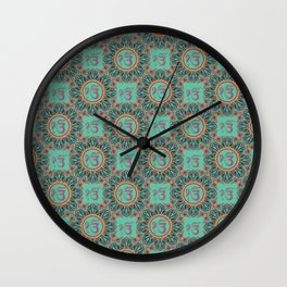 Ek Onkar / Ik Onkar  Oriental Pattern on Teal Wall Clock