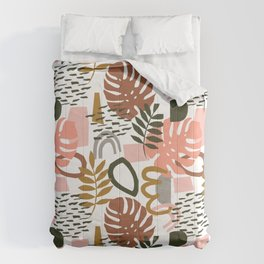 Abstract Floral Geo Comforters