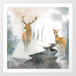 snowing forest Art Print