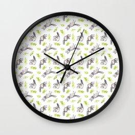 Raccoon Woods Pattern Wall Clock