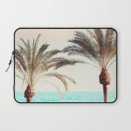 Modern California Vibes pink sky blue seascape tropical palm tree beach photography Laptop Sleeve
