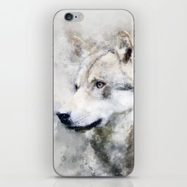 Watercolour grey wolf portrait iPhone Skin