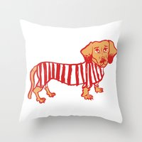 daschund Throw Pillows featuring Sausage Dog by sophieheywood