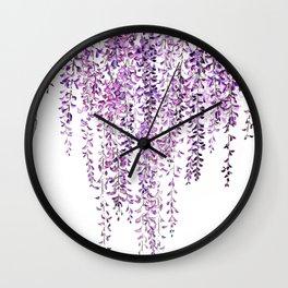 purple wisteria in bloom Wall Clock