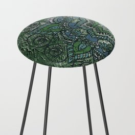 N51 - Antique Boho Traditional Moroccan Style 2020 Trending Green Color. Counter Stool