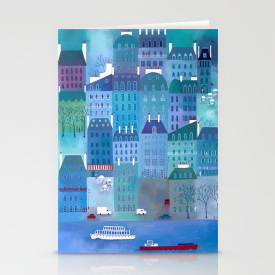 Paris Blues Stationery Cards